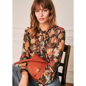 Sezane Lives Blouse Honey Flowers Print 44 US 14